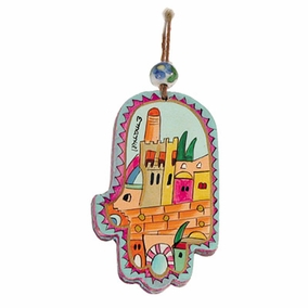 Small Wood Painted Hamsa (HAS- 9) CAT# HAS- 9