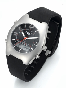 Sporty stainless steel gent's watch - 718 - black