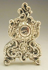Sterling Silver Antique Style Clock Miniature