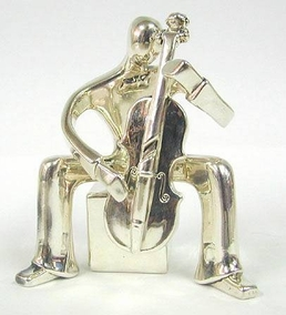 Sterling Silver Cello Player Figurine