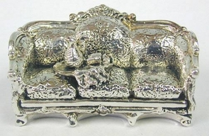 Sterling Silver Couch with wine bottle