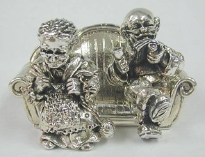 Sterling Silver Elderly Couple On Sofa Large Miniatures
