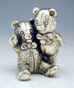 Sterling Silver Hugging Teddy Bears Miniature