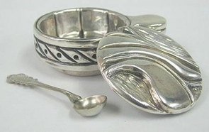 Sterling Silver Leaves Honey Dish
