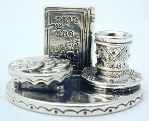 Sterling Silver Pesach Plate Big Glass