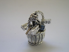 Sterling Silver Purim Basket + Rattles