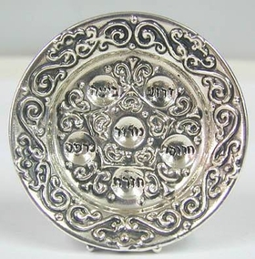 Sterling Silver Round Pesach Plate