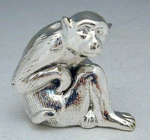 Sterling Silver Sitting Monkey Miniature