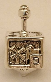 Sterling Silver Small Jerusalem Dreidel