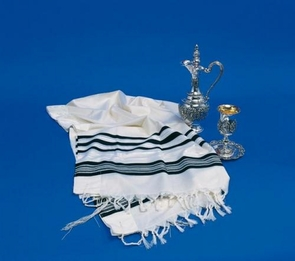 Traditional Black and White Tallit Prima for the young Jewish 50X160cm