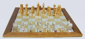 Unique Large Sterling Silver Medical Doctor Chess Set