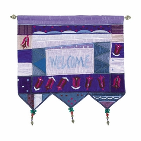 Welcome - Flowers - Blue Wall Hanging In English CAT# WE-4