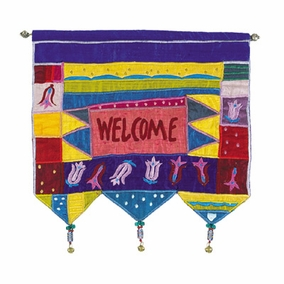 Welcome - Flowers - Multicolor Wall Hanging In English CAT# WE-5