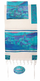 "Woven Cotton and Silk Tallit CAT# TWS- 2, 42"" X 77"""