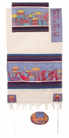"Woven Cotton and Silk Tallit CAT# TWS- 3, 21"" X 77"""