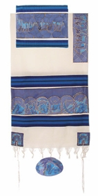 "Woven Cotton and Silk Tallit CAT# TWS- 9, 21"" X 77"""