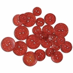 Favorite Findings - Glitter Buttons - Red Glimmer Transparent