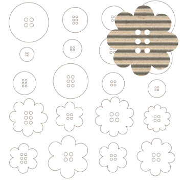 Jillibean Soup: Corrugated Shapes - Buttons 20/pkg