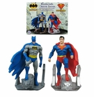Batman and Superman Resin Bookends Statues