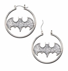 Batman Logo Silver Color Cut Glitter Hoop Earrings