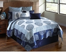 Blue Medallion Queen Bedding Set - 9 Pc.