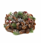 Frosted Pine Cone Wreath Candle Holder