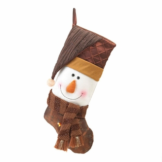 Golden Sparkle Snowman Christmas Stocking