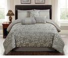 Gray Leaves Queen Bedding Set - 7 Pc.