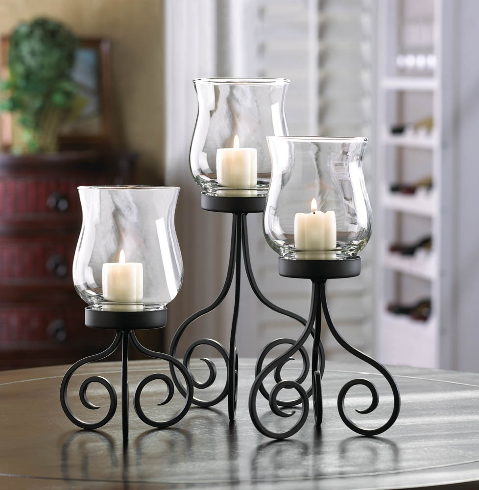 Set Of 3 Black Iron Candle Holders Prayer Room Or Altar