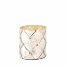 Quilted Mercury Glass Hurricane Candle Holder - Medium