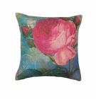 Pink Rose Print Throw Pillow