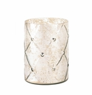 Quilted Mercury Glass Hurricane Candle Holder - Large