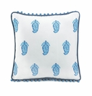 Square Blue Paisley Pillow