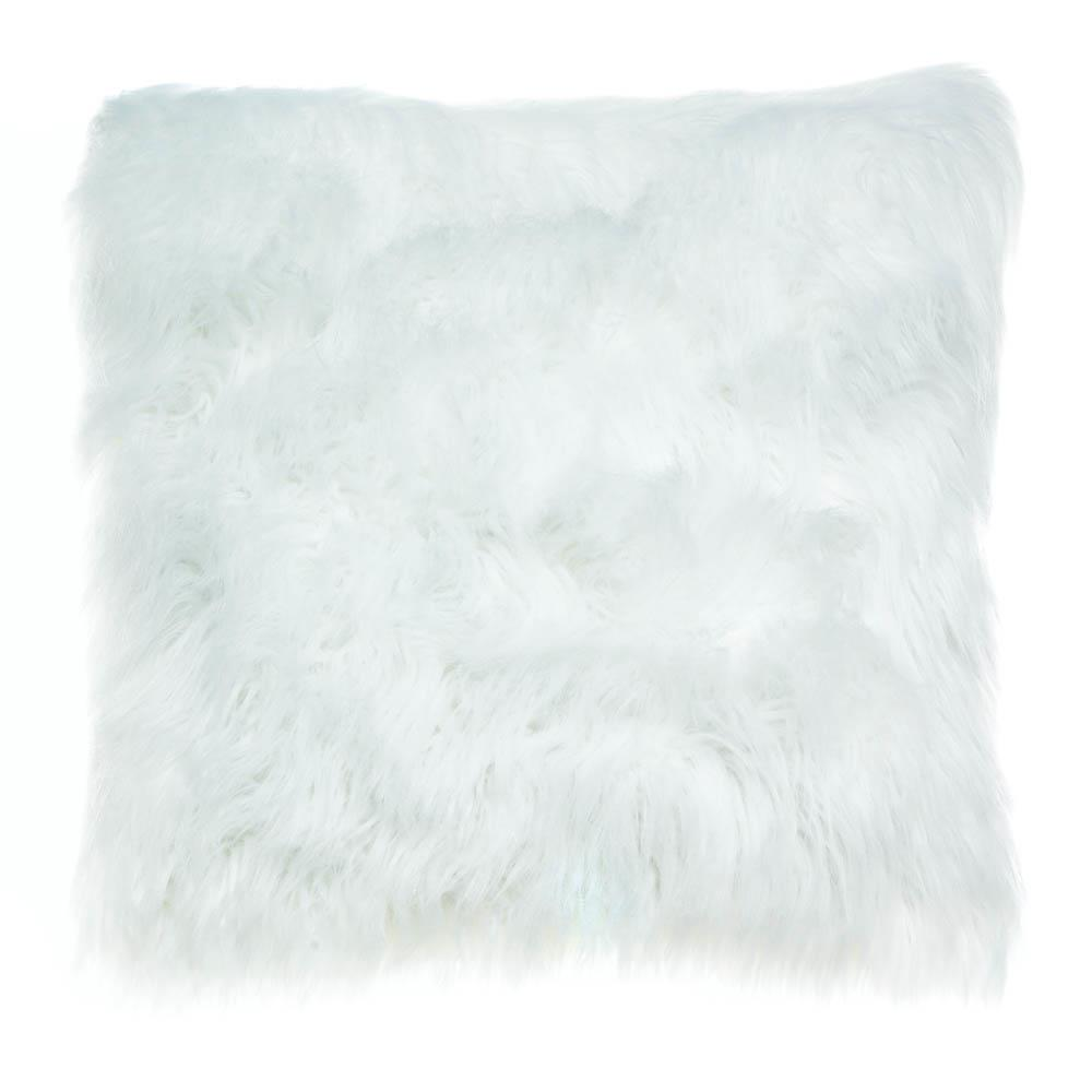 White Faux Fur Throw Pillow