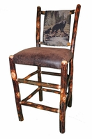24 inch Rustic Hickory Bar Stool with Bear and Cub Fabric on the back