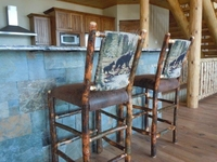 "24"" Rustic Hickory Upholstered Bar Stool with Bear and Cub Fabric Upholstered Back"