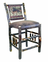"24"" Rustic Hickory Upholstered Bar Stool with Spindle Sides and Buck & Doe Fabric"