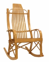 Amish Solid Oak Bentwood Rocking Chair