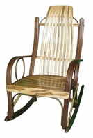 Rustic Bentwood Rocker with Walnut and Wormy Maple Wood