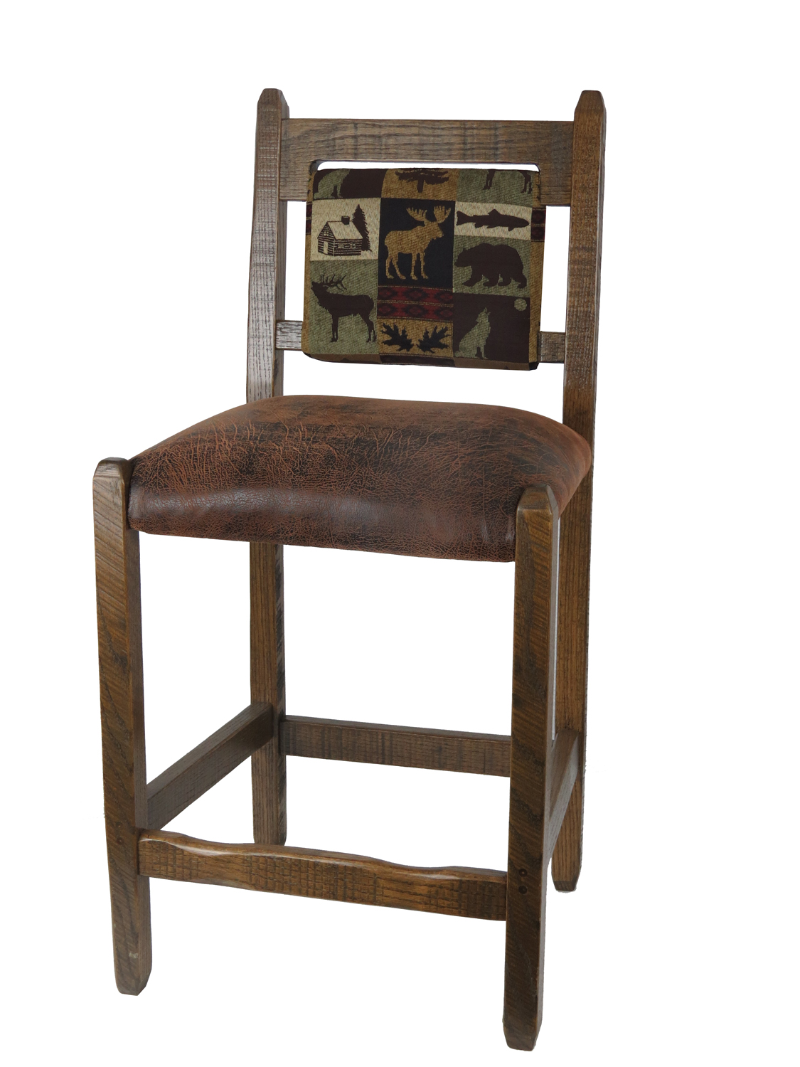 Amazing photo of Barnwood Bar Stools with upholstered Back and Seat 24 inch with #604734 color and 1125x1500 pixels