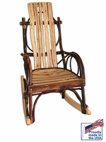 Rustic Bentwood Rocker for a Child with Hickory Slats
