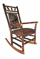 Hickory Rocking Chair with High Back and upholstered seat and back