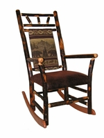 Hickory Rocking Chairs with High Back and upholstered seat and back
