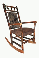 Rustic Hickory Rocking Chair with a Bear and Cub Back