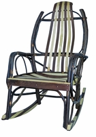 Rustic Amish Hickory Rocker with Walnut and Maple Slats