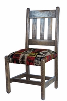 Barnwood Dining Chair with Upholstered Seat with Cabin Collection Fabric