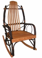 Rustic Bentwood Rocker with Hickory and Oak Slats