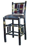 Rustic Bar Stools 30 inch with upholstered seat and back