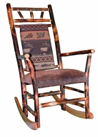 Rustic Hickory Rocking Chair with an Elk Ridge Upholstered Back