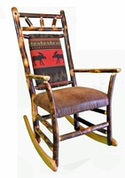 Rustic Hickory Rocking Chair with a Frontier Moose (Red) Back